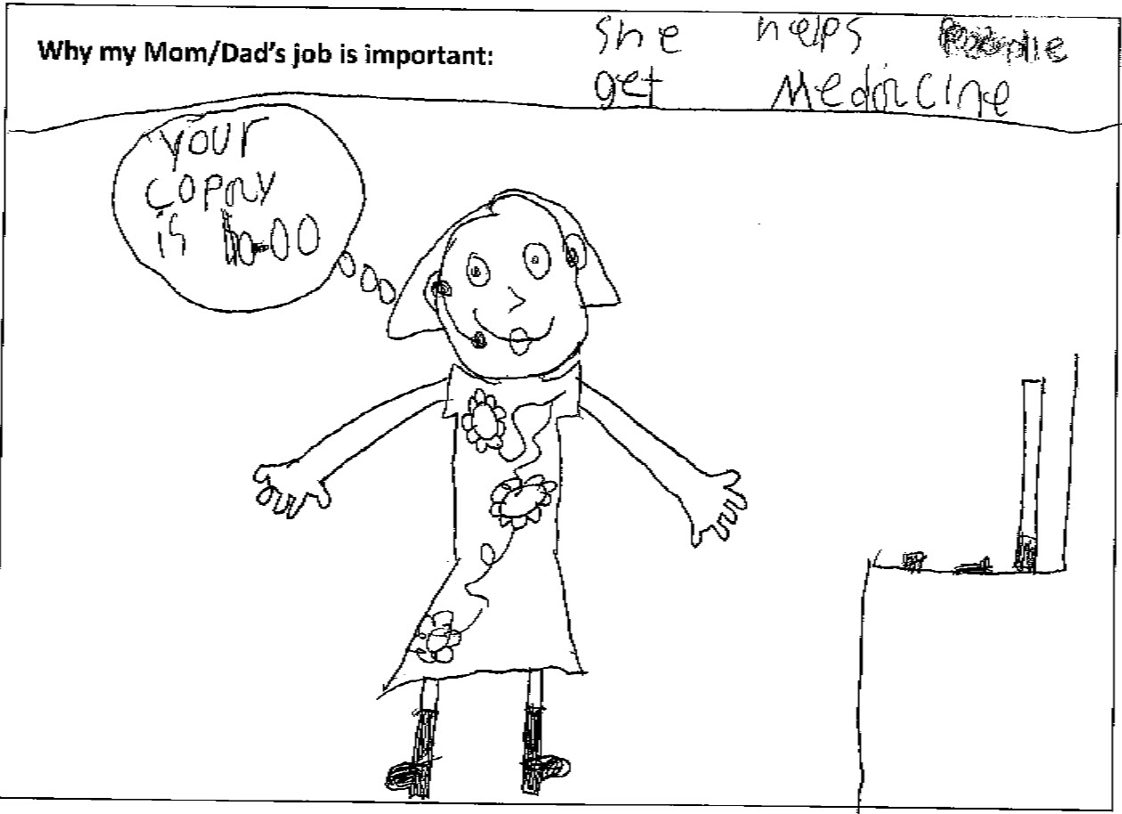 drawing by a child of her mom on the phone with a patient
