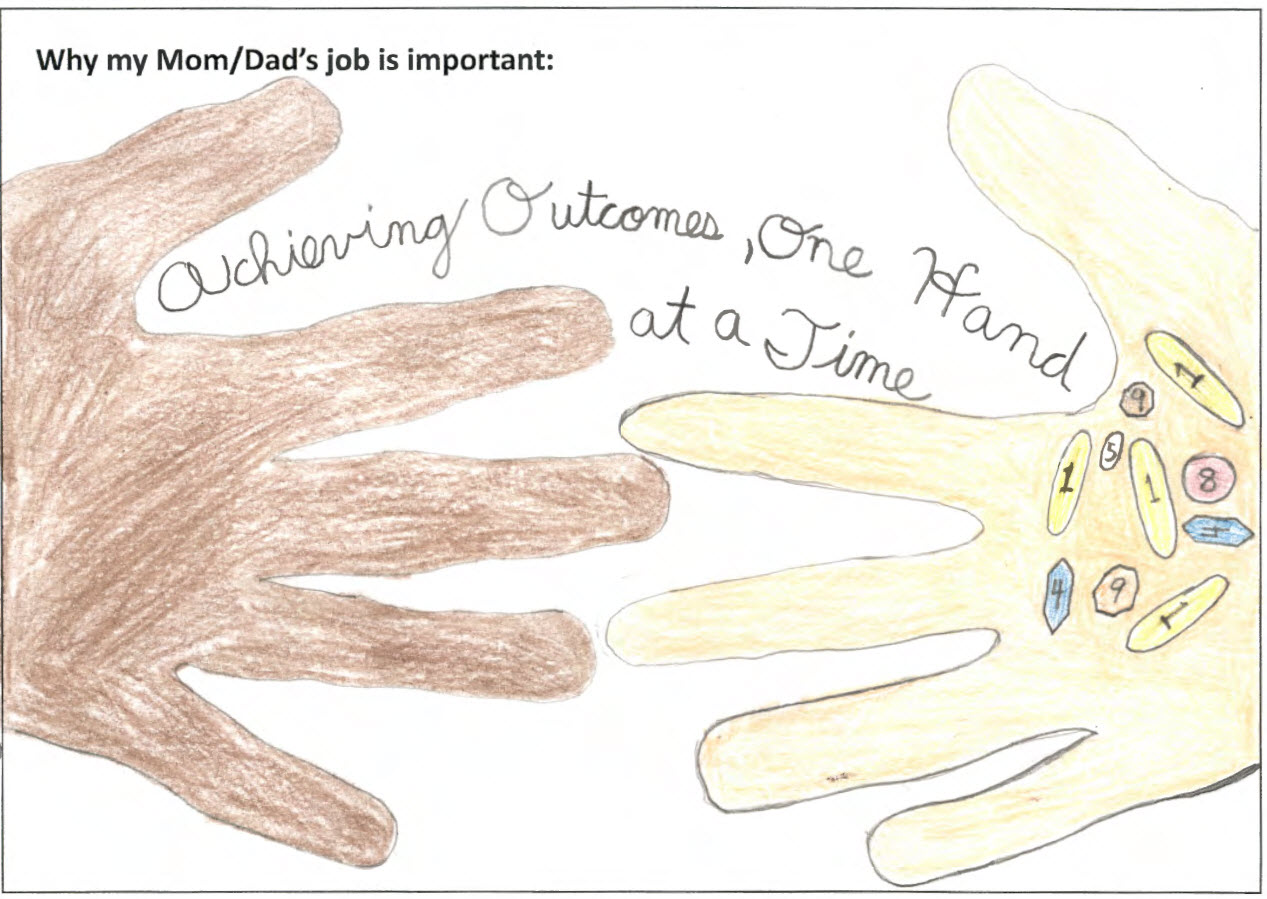 drawing by a child of two hands reaching out for one another that says achieving outcomes one hand at a time