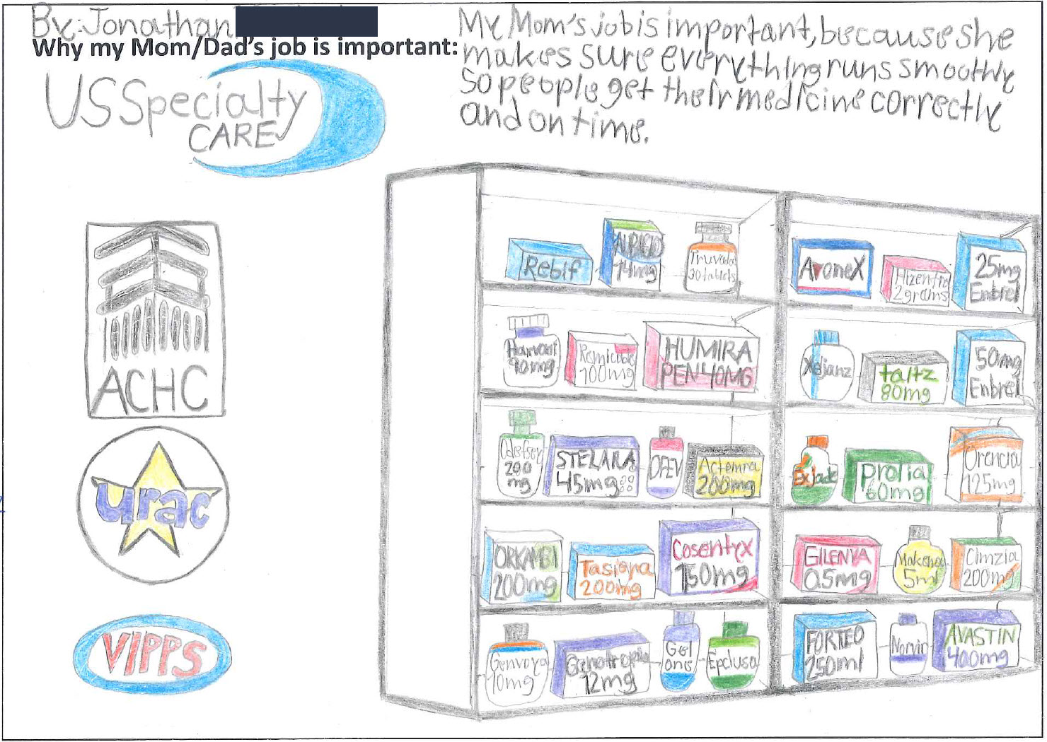 drawing by a child of pharmacy shelves displaying a variety of specialty medications with accreditation logos