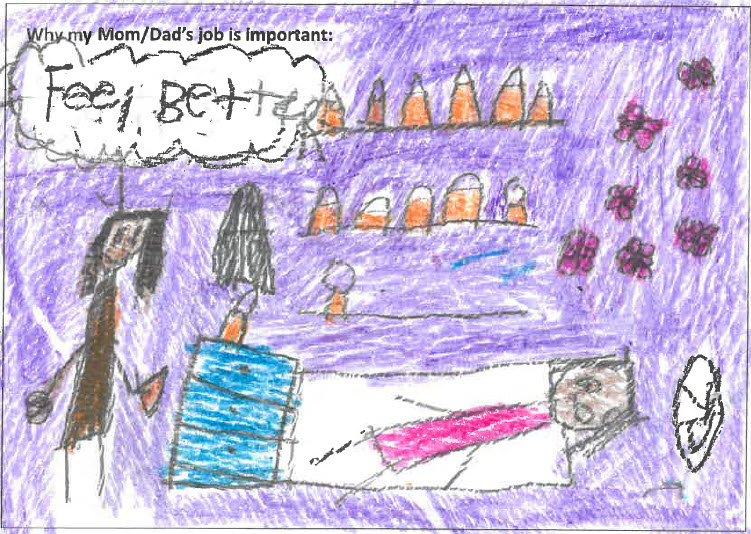 drawing by a child pharmacist helping a resting patient in a specialty pharmacy with purple walls