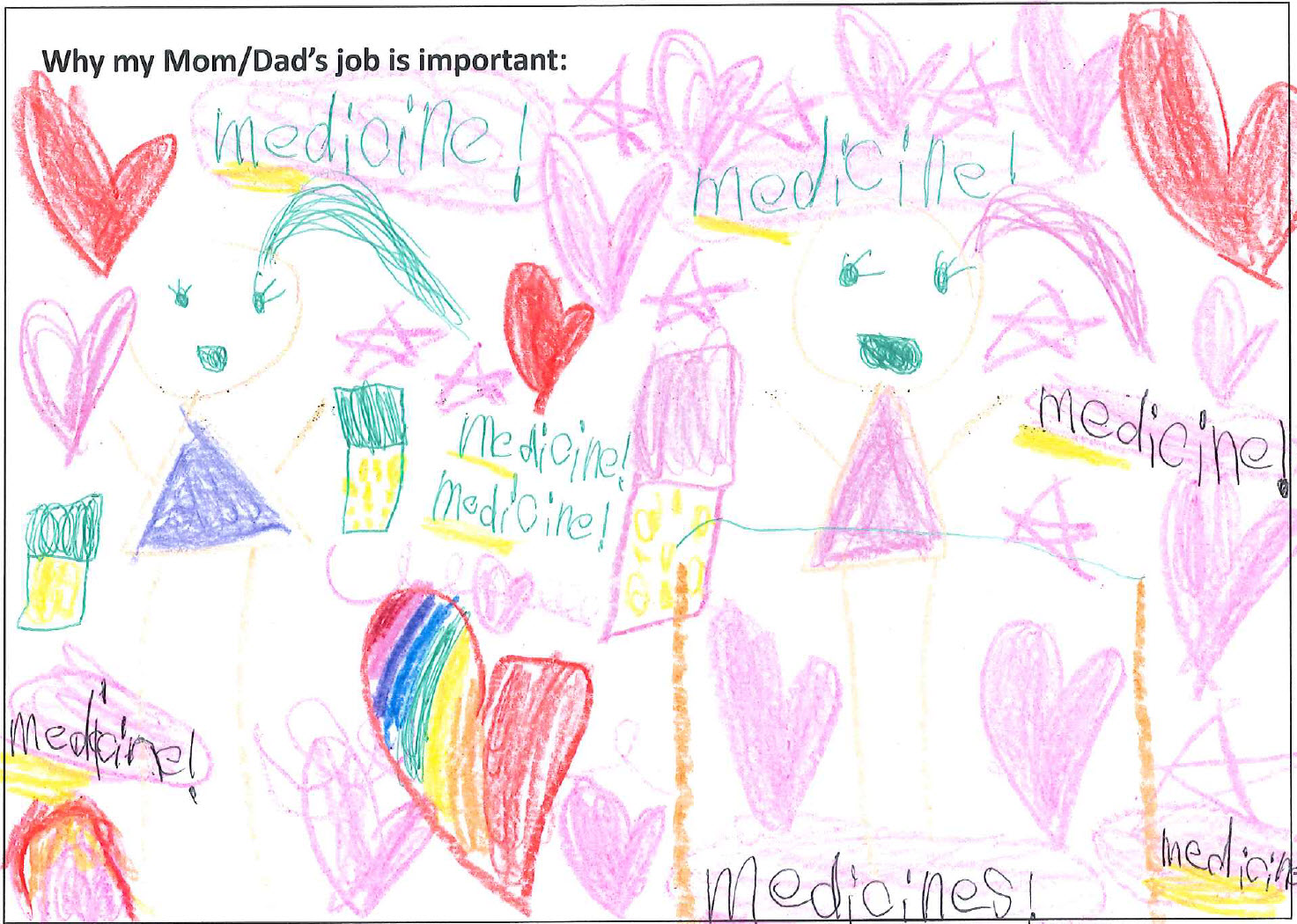 drawing by a child of two girls excited about specialty medicines surrounded by pink hearts