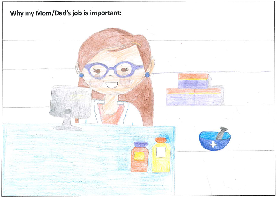 drawing by a child of a pharmacist with glasses in a specialty pharmacy