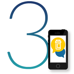 teal number three with a smartphone displaying two chat bubbles displaying an icon of a pill bottle to the right