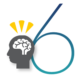 teal number six with a gray silhouette of a head with a brain to the left. Three triangular yellow thought lines are hovering over the brain